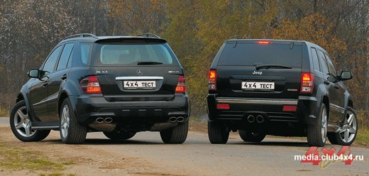 Jeep Cherokee SRT 8 и Mercedes ML 63 AMG